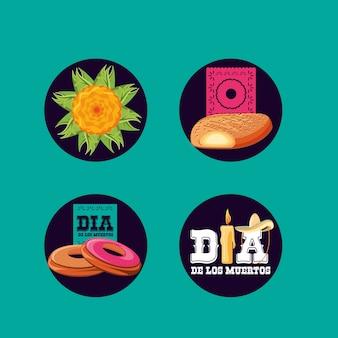 Tradición del día de los muertos con set de iconos