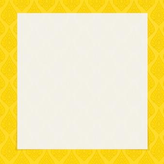Tradición tailandesa arte marco cuadrado fondo color oro