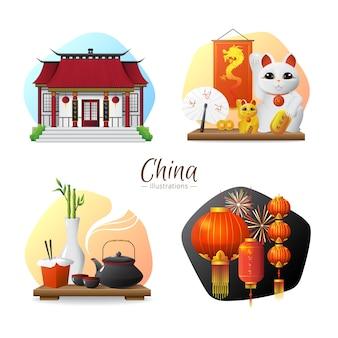 Tradiciones y símbolos de la cultura china. 4 composiciones elegantes con ceremonia del té y linterna roja.