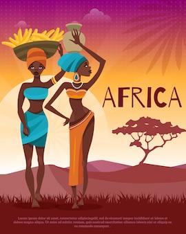 Tradiciones tribales africanas de la cultura del cartel plano