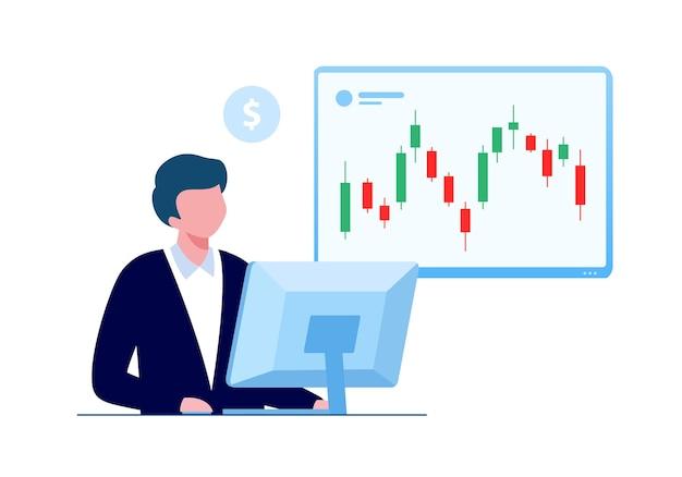 Trading stock y forex candelabro concepto ilustración vectorial plana para banner