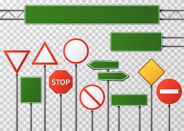 Tráfico en la calle en blanco y señales de tráfico vector conjunto aislado