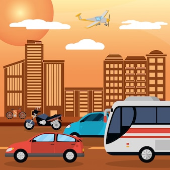 Tráfico carretera ciudad atardecer