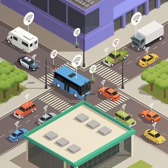 Tráfico de ciudad inteligente isométrico