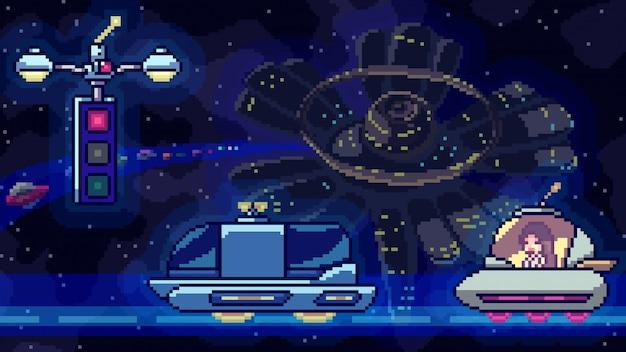 Tráfico de la estación espacial de la escena del arte del pixel