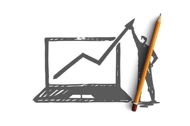 Tráfico, internet, web, negocios, concepto de marketing. bosquejo del concepto de crecimiento del tráfico dibujado a mano.