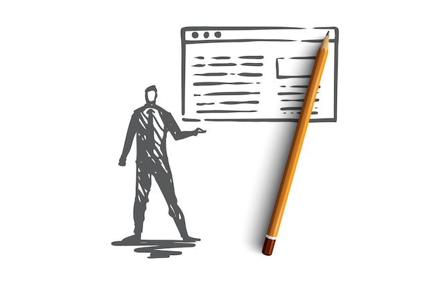 Tráfico, sitio web, internet, tecnología, concepto digital. gerente dibujado a mano presenta un boceto de concepto de informe de tráfico.