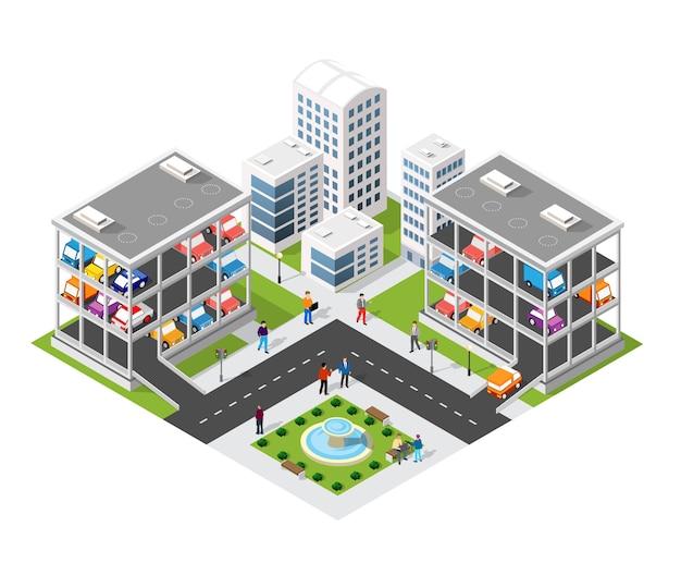 Tráfico transporte ciudad estacionamiento de varios pisos estacionamiento garaje