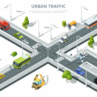 Tráfico urbano con diferentes coches.