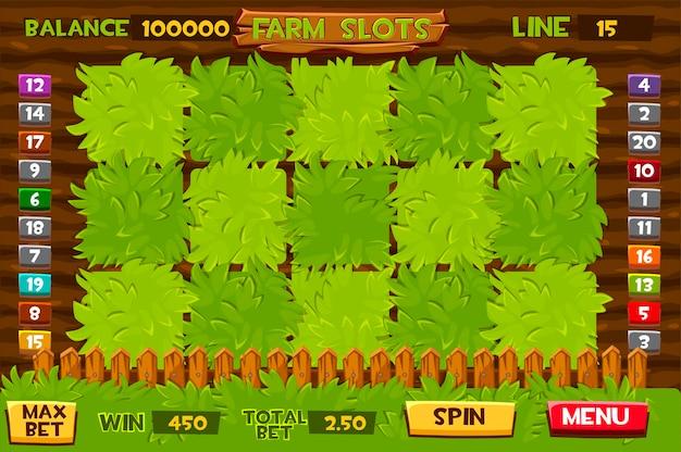 Tragamonedas agrícolas, lechos de verduras para la gui del juego. ilustración de una ventana de juego personalizada.