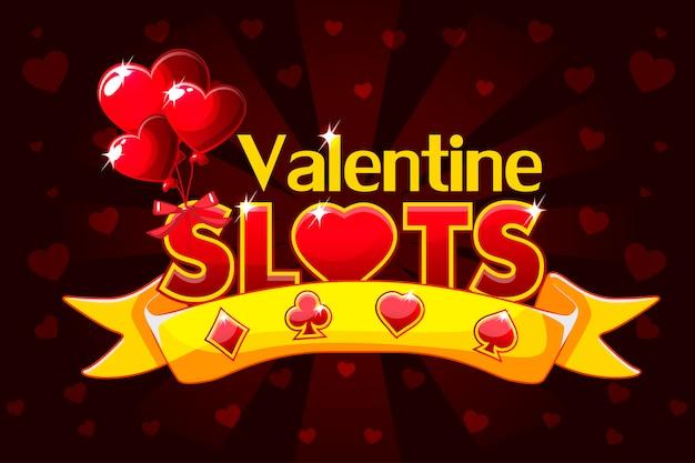 Tragamonedas de casino, banner de san valentín, salvapantallas de juegos de fondo.