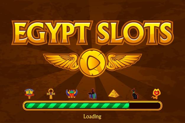 Tragamonedas egipcias en los iconos de fondo y casino. botón de juego y juego de carga