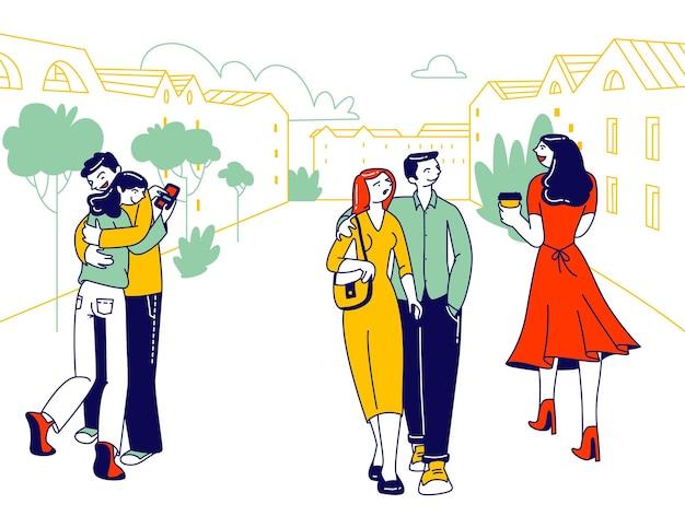 Traición, perfidia y concepto de triángulo amoroso. ilustración plana de dibujos animados