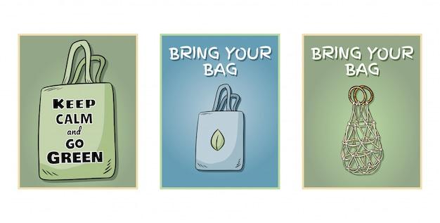 Traiga su propio bolso todos los días un conjunto de carteles.