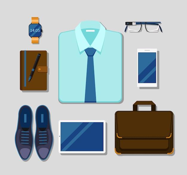 Traje de accesorios y gadgets de empresario moderno. tableta y negocios, gafas y bolígrafo elegante