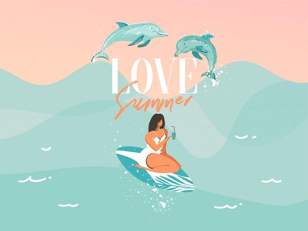 Un traje de baño nadando surf mujer con delfines saltando aislado sobre fondo de olas del océano azul