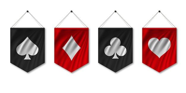 Traje de baraja de cartas en la bandera del banderín.