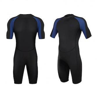 Traje de buceo en negro y azul. bañador para hombre. aislado de fondo blanco.