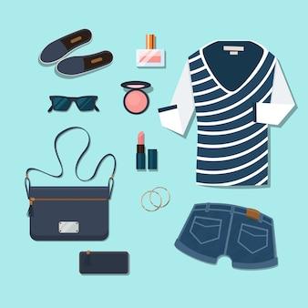 Traje casual de mujer joven. gumshoes y complementos, gafas y perfumes, carteras y cosméticos, pendientes y shorts.