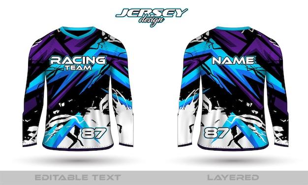 Traje deportivo de manga larga, diseño de camiseta en la parte delantera trasera. diseño deportivo para camiseta de juego de ciclismo de carreras de fútbol