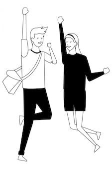 Traje de estudiante pareja alegre salto