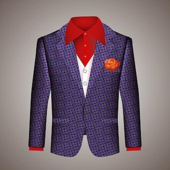 Traje hipster de ropa de hombre con una elegante chaqueta azul a medida