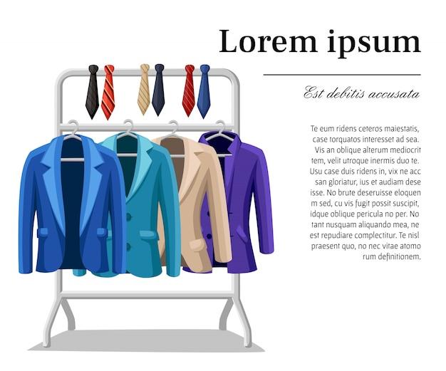 Traje de negocios chaqueta para hombre cuatro chaquetas de diferentes colores y tipos azul verde violeta beige lazos de diferentes colores en una ilustración de suspensión sobre fondo blanco