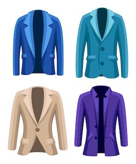 Traje de negocios para hombre chaqueta cuatro chaquetas de diferentes colores y tipos azul verde violeta beige ilustración sobre fondo blanco.