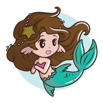 Traje de niña linda una sirena., concepto de dibujos animados de cuento de hadas.