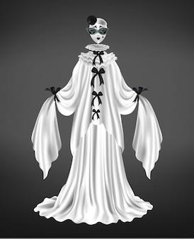 Traje de personaje femenino de pantomima pierrot, traje de arlequín, comediante de circo con máscara facial triste, manga larga y vestido blanco, ilustración vectorial realista de arcos negros aislado