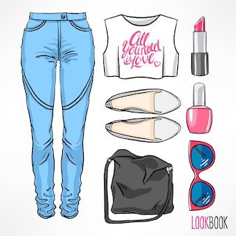 Traje de verano de mujer. jeans y complementos. ilustración de dibujo a mano