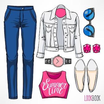 Traje de verano de mujer. vestido y complementos. ilustración de dibujo a mano