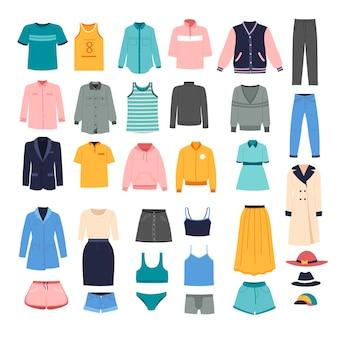 Trajes elegantes para mujeres, colección de surtido de ropa de moda.