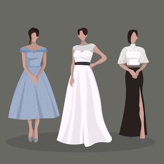 Trajes de vestido de fiesta de mujer elegante