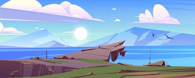 Tranquilo paisaje con montañas y lago en la mañana