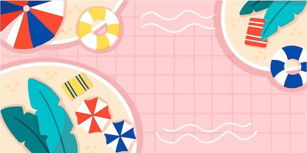 Tranquilo, relajarse, piscina, bandera, garabato, ilustración