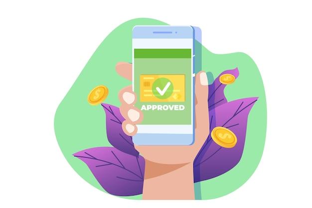 Transacción aprobada, transacciones financieras, pago no en efectivo, moneda monetaria, concepto de pago nfc.