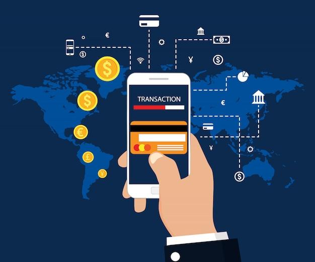 Transacción de dinero, banca móvil y pago móvil. ilustración vectorial diseño plano moderno