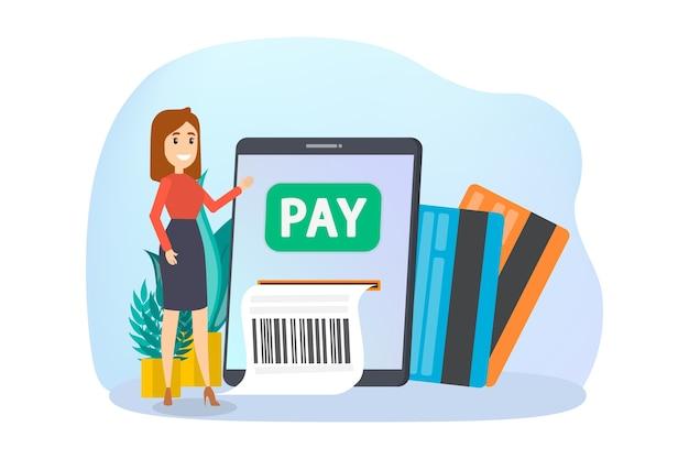 Transacción de dinero digital a través de un dispositivo moderno
