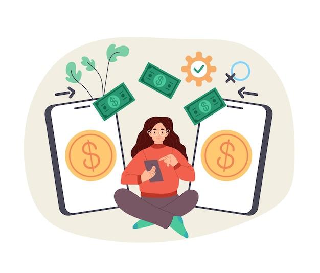 Transacción de dinero inalámbrica de teléfono a teléfono aislado