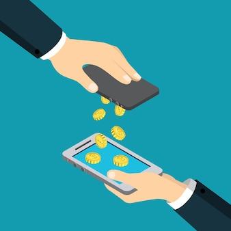 Transacción financiera isométrica plana de transferencia de dinero de pago móvil