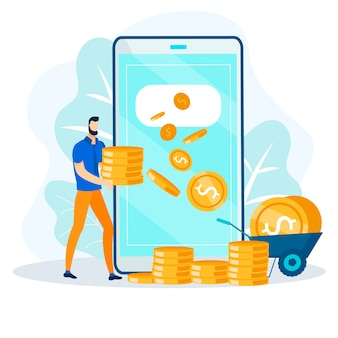 Transacción financiera en línea, transferencia de dinero rápida