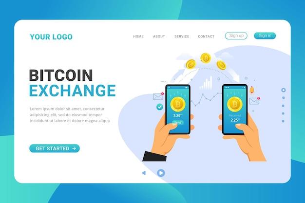 Transacción de intercambio de bitcoin de plantilla de página de destino en aplicación móvil