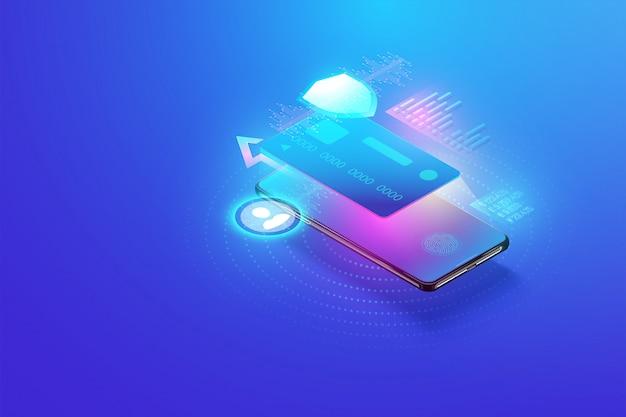 Transacción de pago segura en línea con teléfono inteligente. banca por internet con tarjeta de crédito en el móvil. protección de compras de pago inalámbrico a través del concepto isométrico de teléfono inteligente.