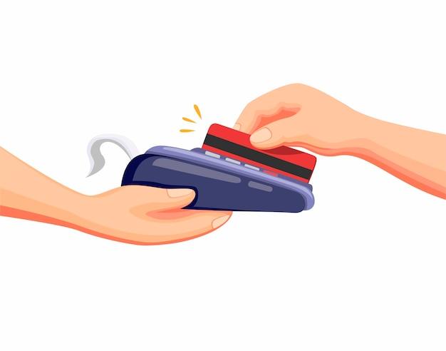 Transacción con tarjeta de crédito o débito al pago en drive thru o market shop en vector de ilustración de dibujos animados en blanco