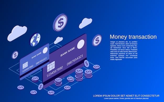 Transacciones de dinero, ilustración de concepto isométrico plano de transferencia financiera
