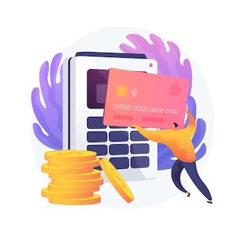 Transacciones financieras, operaciones monetarias. opciones de pago, efectivo y sin efectivo, pago sin contacto. elemento de diseño de idea de compras con tarjeta de crédito.