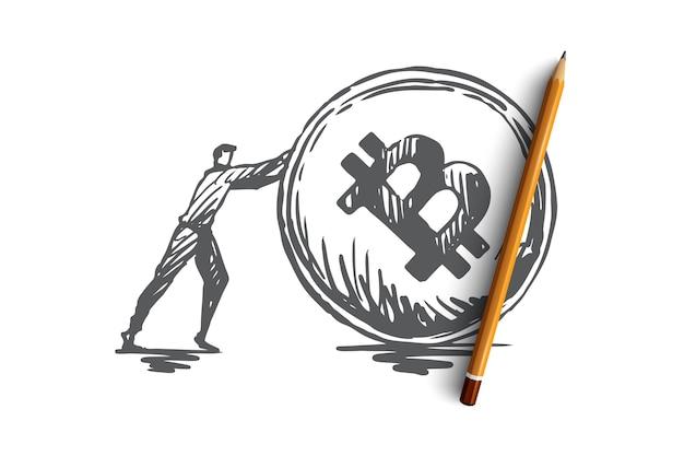 Transacciones, pago, finanzas, digital, concepto electrónico. boceto de concepto de moneda de criptomoneda y empresario dibujado a mano.
