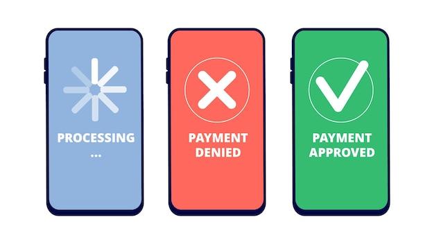 Transacciones de pago. pago en línea aprobado, denegado y en proceso en la pantalla del teléfono inteligente. concepto de vector de servicio de pago móvil plano. banca de dinero, finanzas electrónicas, ilustración de procesamiento de pago