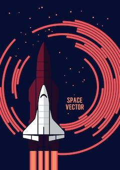 Transbordador espacial y cohetes vector illustration